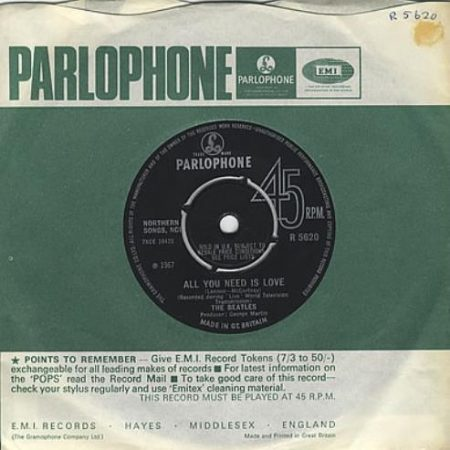 """The Beatles All You Need Is Love - 2nd - 4pr 1967 UK 7"""" vinyl R5620"""